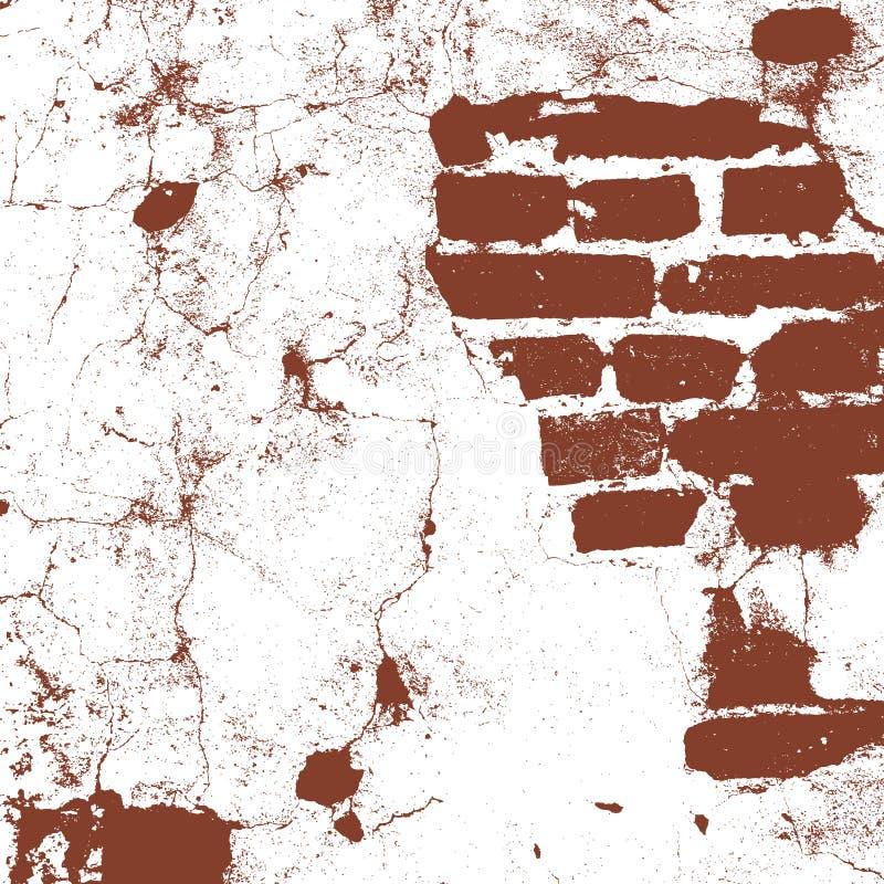 砖砌,老房子,棕色和白色难看的东西纹理,抽象背景的砖墙 向量 皇族释放例证