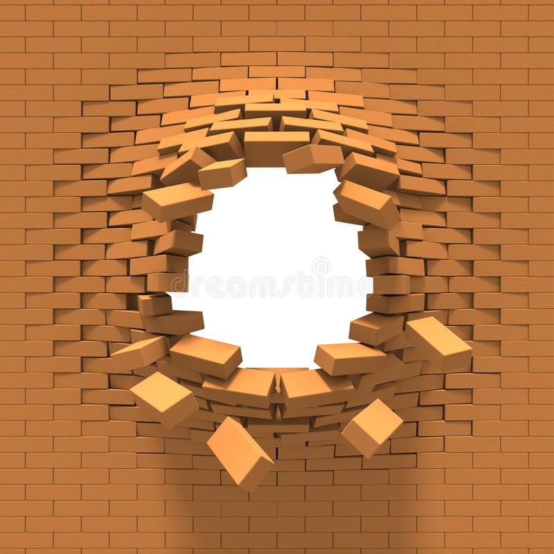 砖破坏墙壁 向量例证