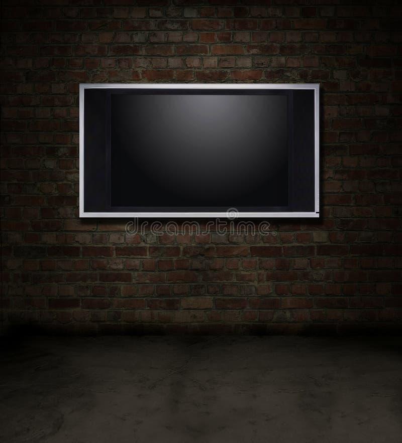 砖空间电视 库存例证