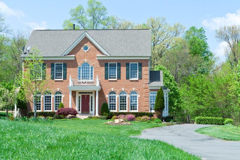 砖系列前面家房子md唯一郊区 图库摄影