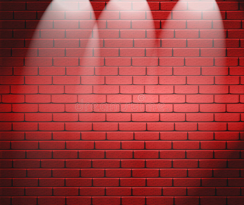 砖聚光墙壁 库存例证