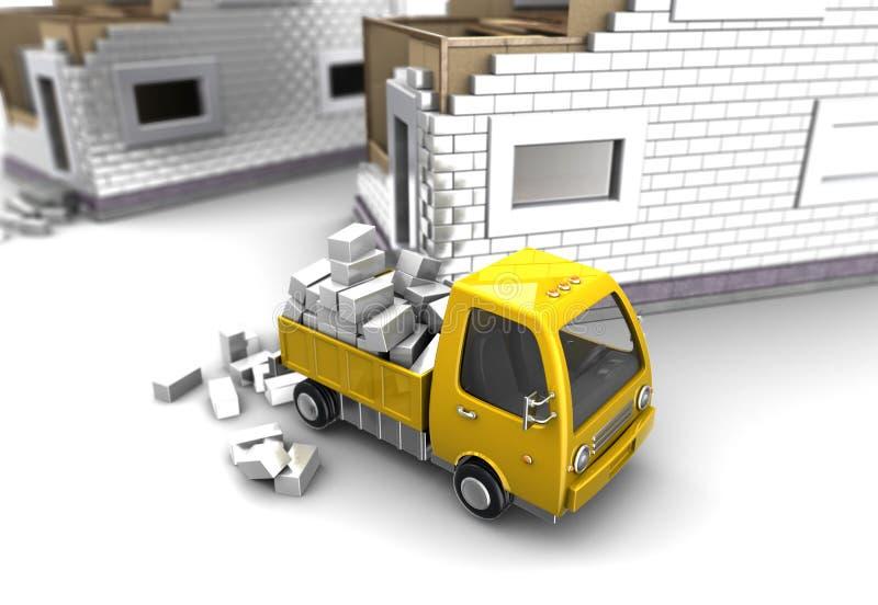 砖被交付到建造场所 库存例证