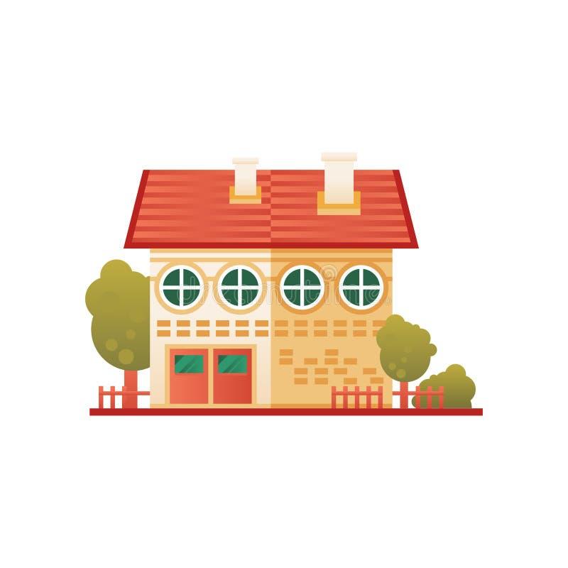 砖郊区私有房子,正面图在白色背景的传染媒介例证 库存例证