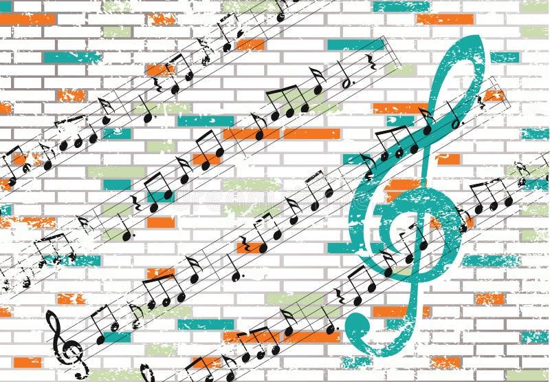 砖音符墙壁 向量例证