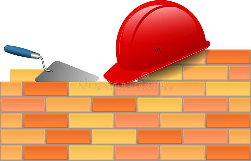 砖,安全帽,修平刀 库存例证