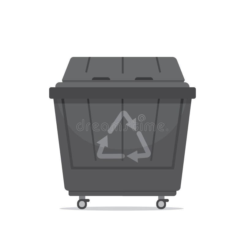 破坏大型垃圾桶在白色背景隔绝的传染媒介例证 库存例证