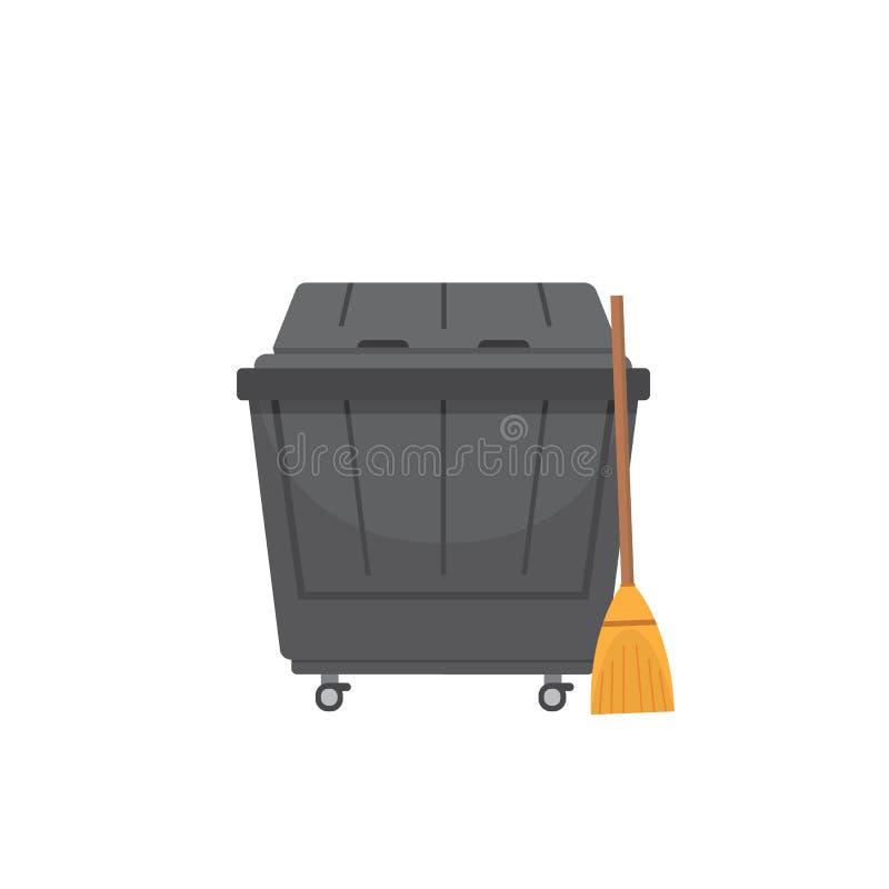 破坏大型垃圾桶在白色背景隔绝的传染媒介例证 向量例证