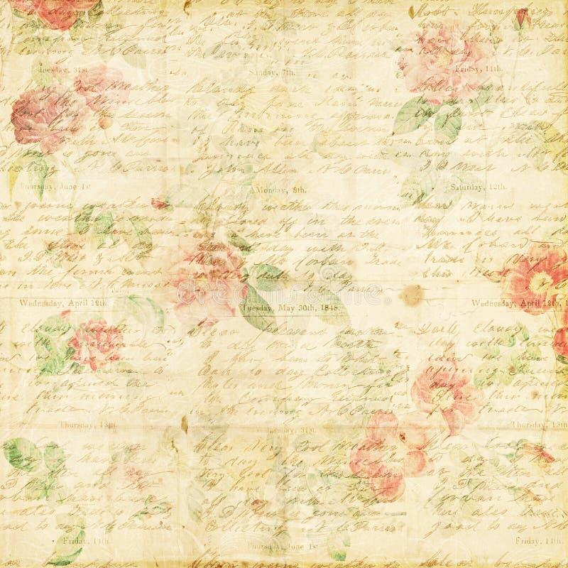 破旧的别致的葡萄酒玫瑰花卉脏的背景 免版税库存图片