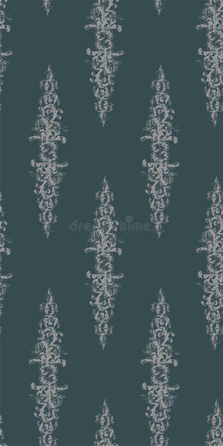 破旧的摘要锦缎无缝的传染媒介维多利亚女王时代的样式wallpapper 库存例证