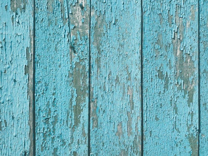 破旧的老片状木背景蓝色油漆 图库摄影
