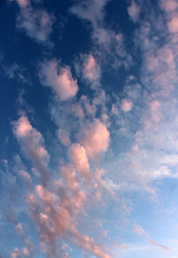 破晓带来希望与明亮的天空蔚蓝的一新的天与桃红色云层 库存图片