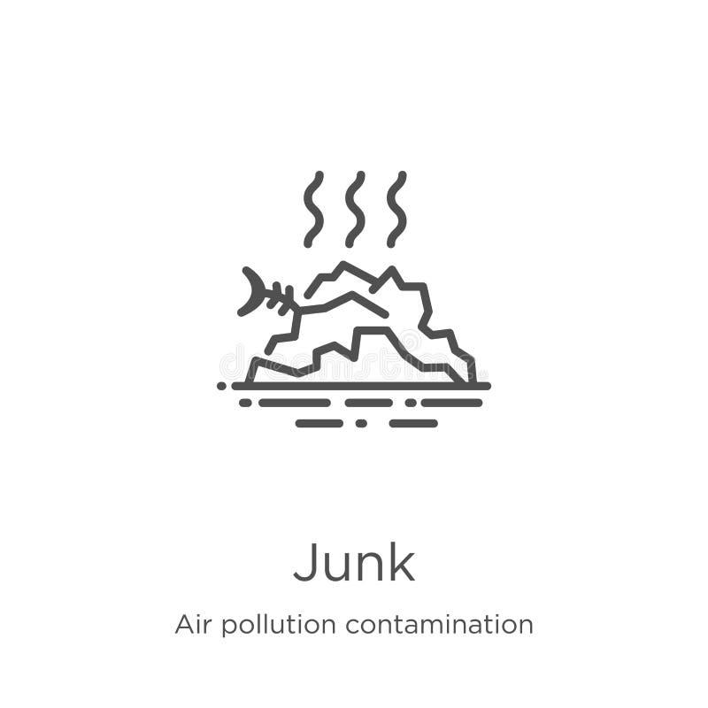 破烂物从空气污染污秽汇集的象传染媒介 稀薄的线破烂物概述象传染媒介例证 概述,稀薄的线 向量例证
