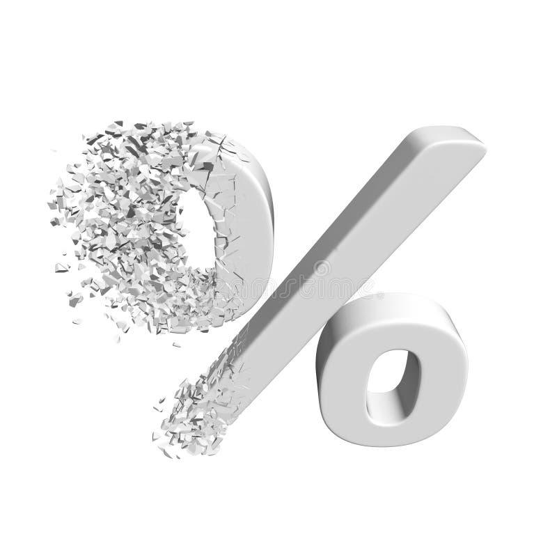 破碎的百分之折扣标志3d 皇族释放例证
