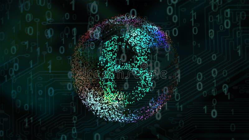 破裂与bitcoin的肥皂泡铸造标志 皇族释放例证