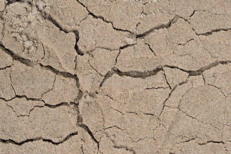 破裂的含沙土壤背景 库存照片