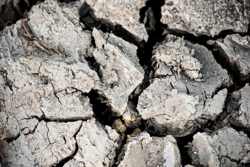 破裂的天旱地面表面背景 灾害概念 免版税库存照片