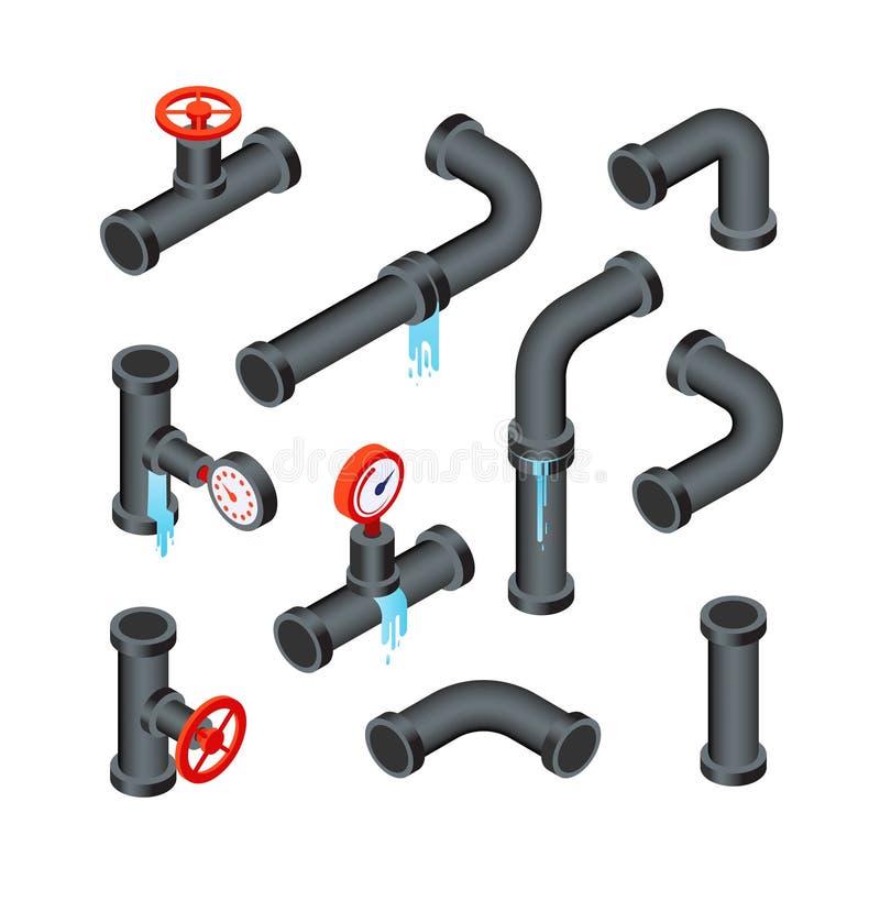 破裂的导管 漏的水管道管 漏出制铅系统3d等量传染媒介被隔绝的集合 向量例证