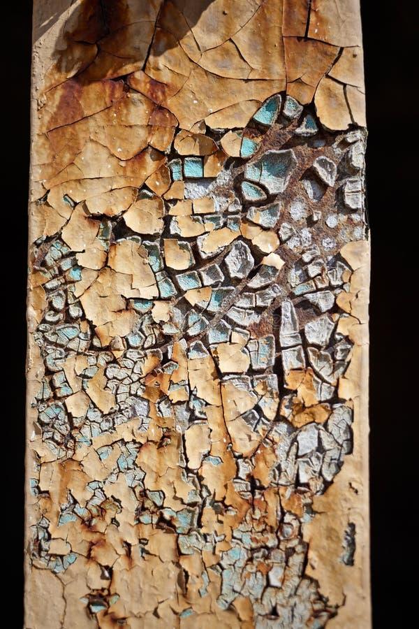 破裂的橙色和蓝色油漆 图库摄影