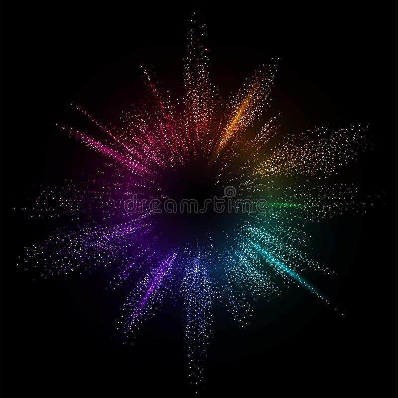 破裂的颜色传染媒介背景 小点液体流程3d设计例证 几何动态微粒爆炸概念 皇族释放例证