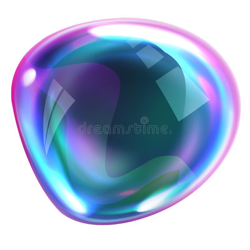 破裂肥皂与反射的彩虹泡影 库存例证