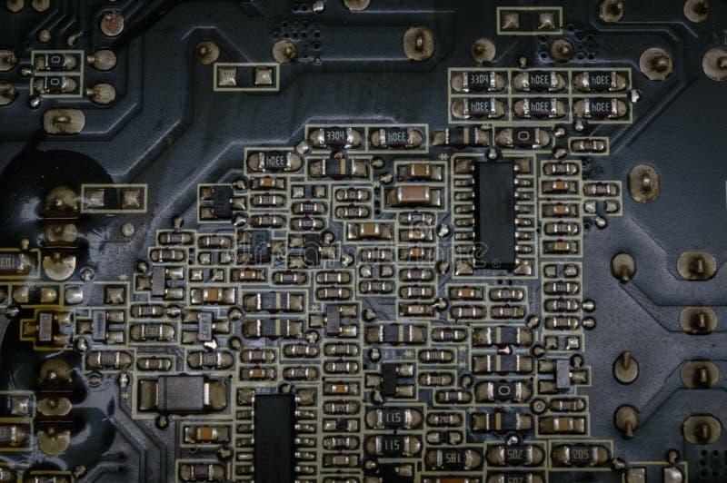 硅有焊剂和电路的计算机主板 免版税库存图片
