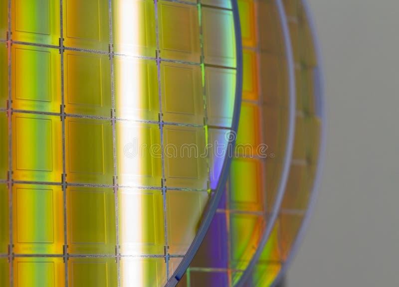 硅片和微型电路-薄酥饼是一个薄片半导体材料,例如水晶硅,用于 免版税库存图片