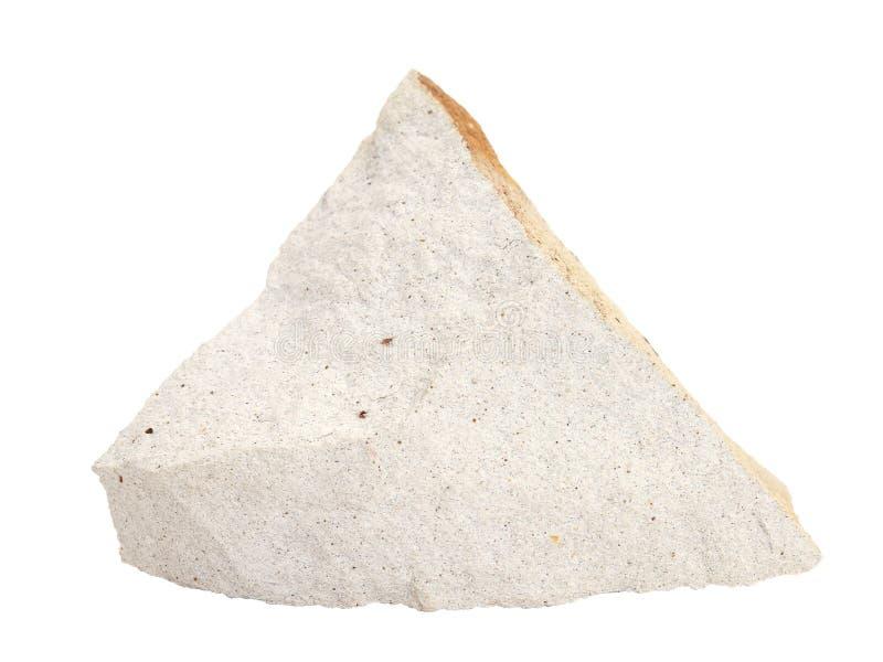 硅藻土自然样品gaize,在白色背景的opoka岩石 库存照片
