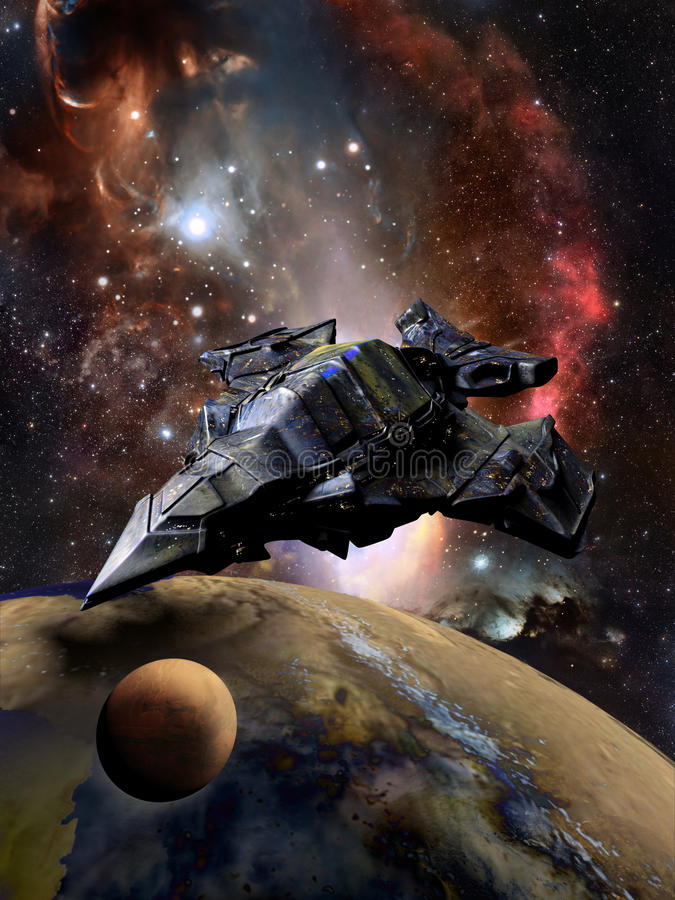 硕大太空飞船和行星 库存例证