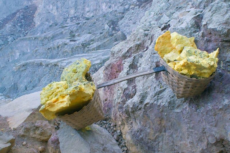 硫磺在Kawah伊真火山的载体篮子 库存照片