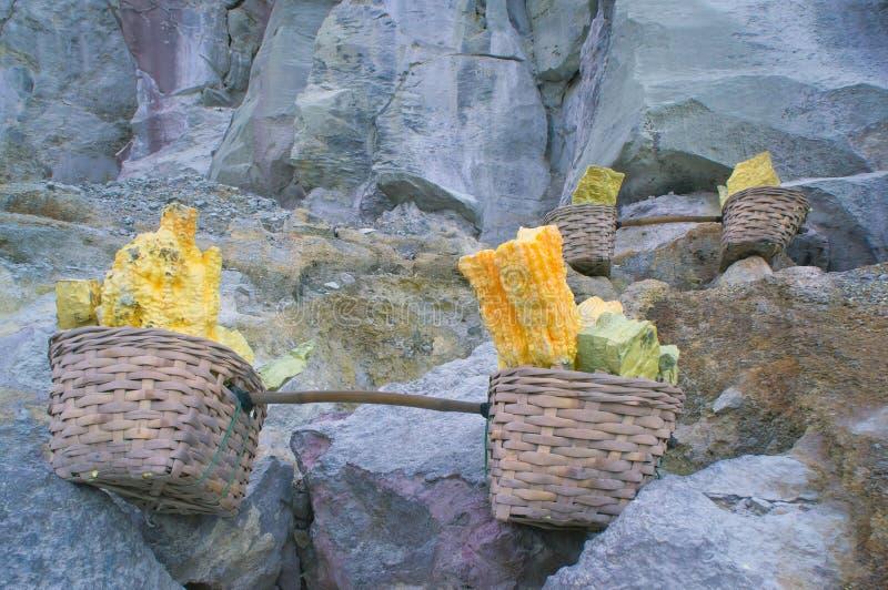 硫磺在Kawah伊真火山的载体篮子 库存图片