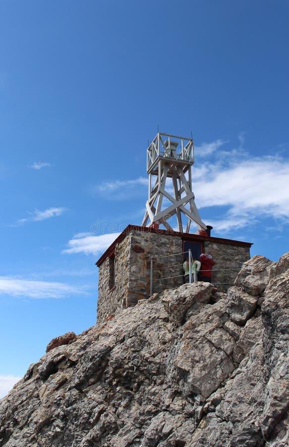 硫磺山气象台 E ?? : 气象台的看法在天空蔚蓝的 库存图片