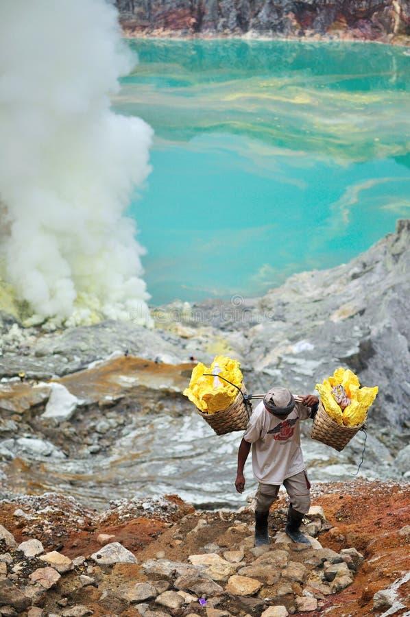 硫磺矿工在Kawah伊真火山, Java,印度尼西亚 免版税库存照片