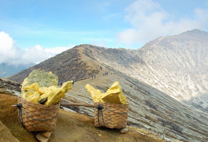 硫磺篮子在Kawah伊真火山 图库摄影