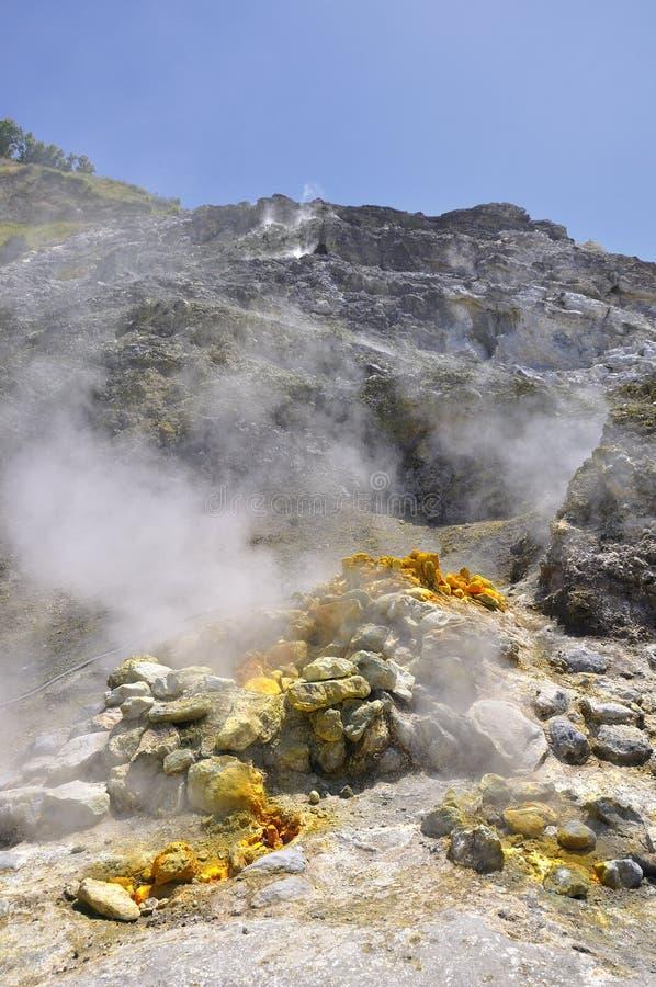 硫质喷气孔火山的火山口 库存图片