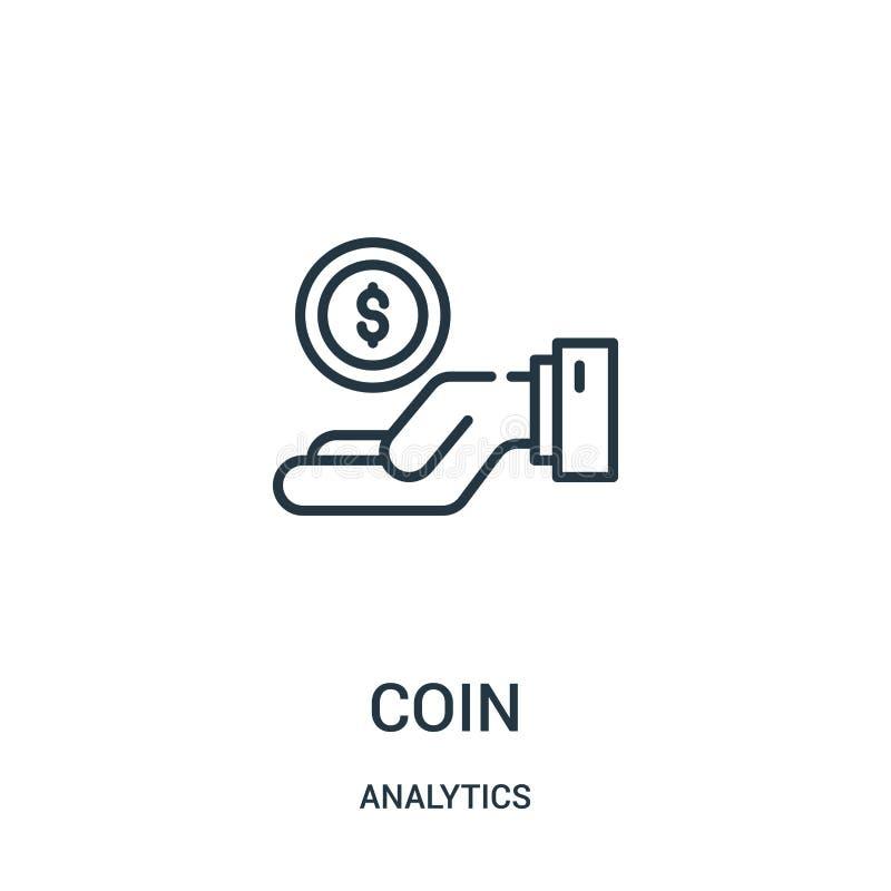 硬币从逻辑分析方法汇集的象传染媒介 稀薄的线硬币概述象传染媒介例证 库存例证