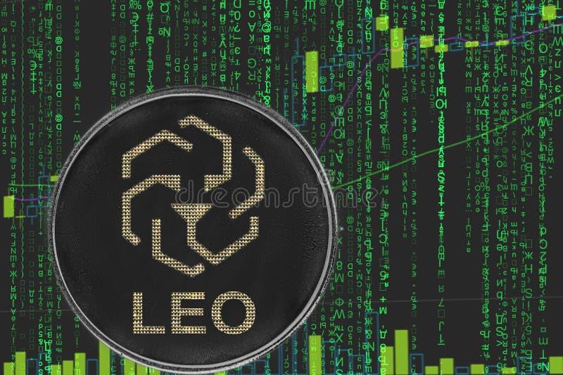 硬币利奥在二进制隐藏矩阵文本和价格图背景的bitfinex cryptocurrency  皇族释放例证