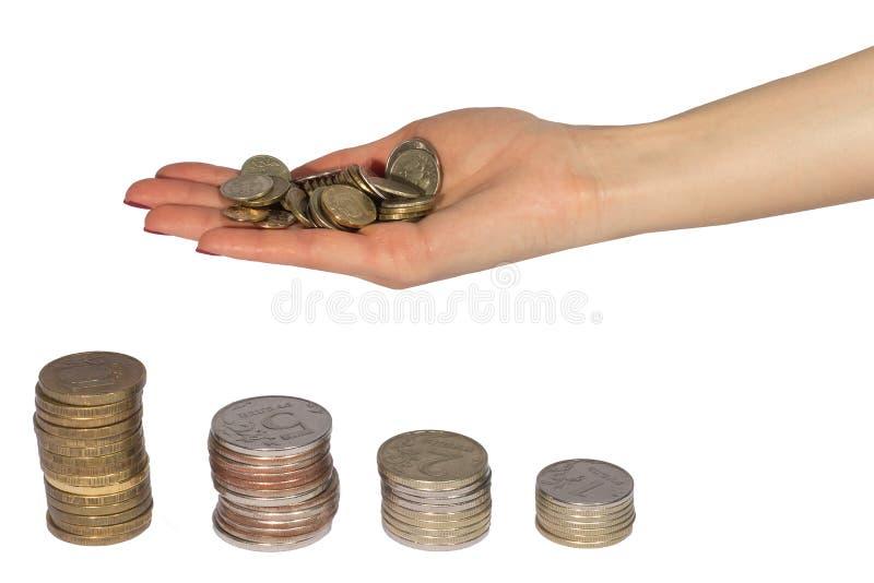 硬币和手在白色背景 库存图片