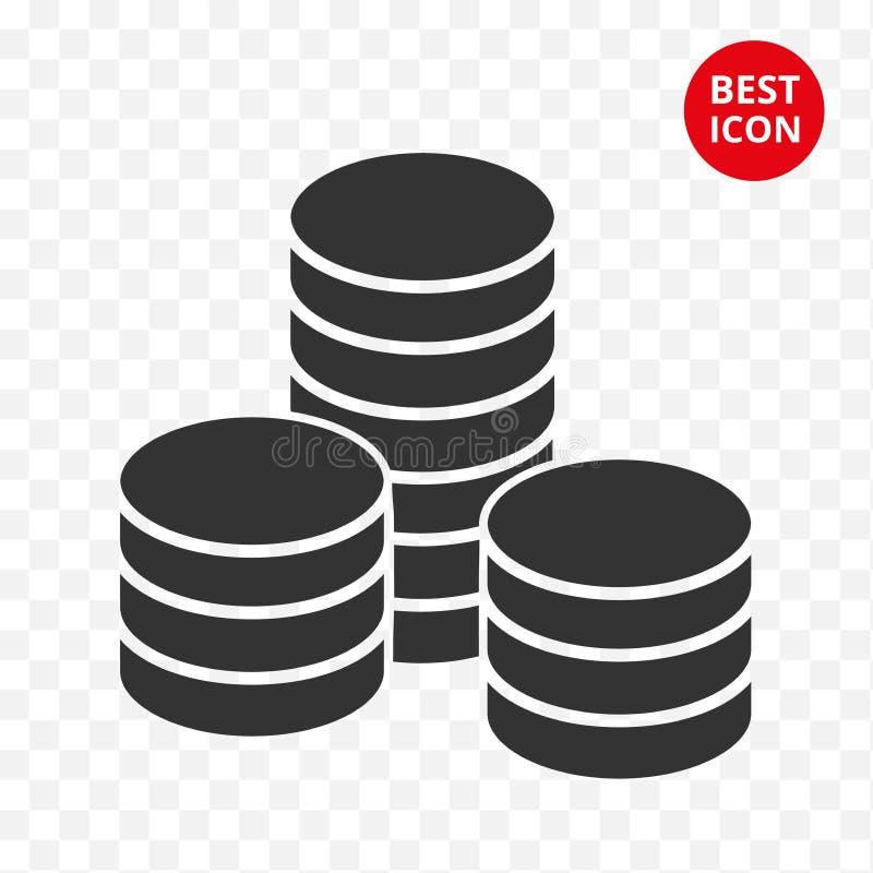 硬币堆传染媒介被隔绝的例证 现代硬币被堆积的象 平的样式设计 最佳的象的简单的概念 为 库存例证