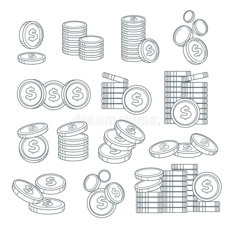 硬币堆或便士隔绝了剪影,银行业务,现金 库存例证