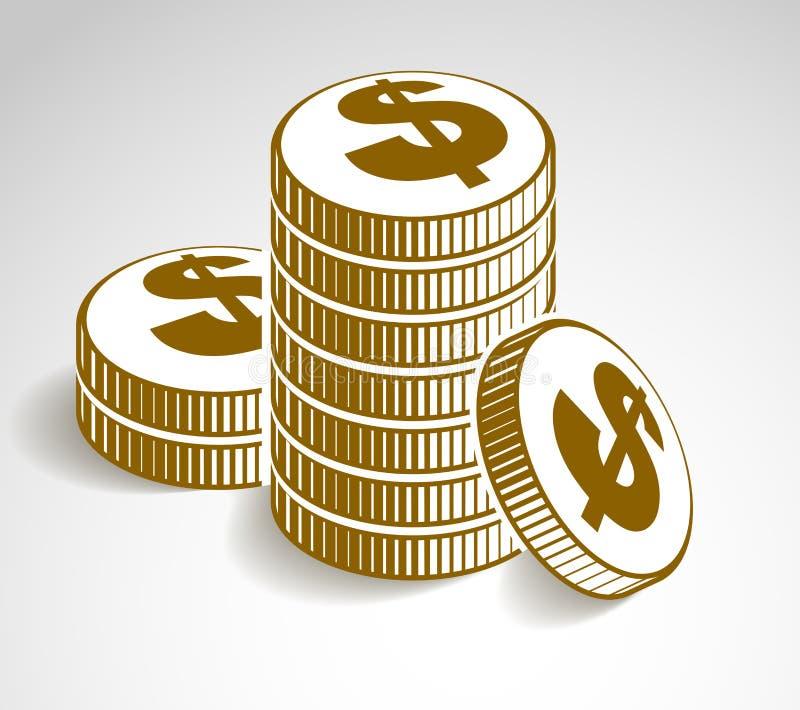 硬币堆现金金钱或赌博娱乐场芯片静物画、传染媒介象、例证或者商标、收支或者税概念 皇族释放例证