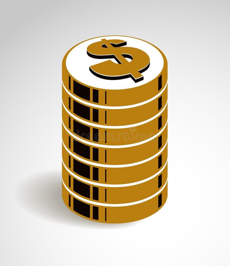 硬币堆现金金钱或赌博娱乐场芯片静物画、传染媒介象、例证或者商标、收支或者税概念 向量例证