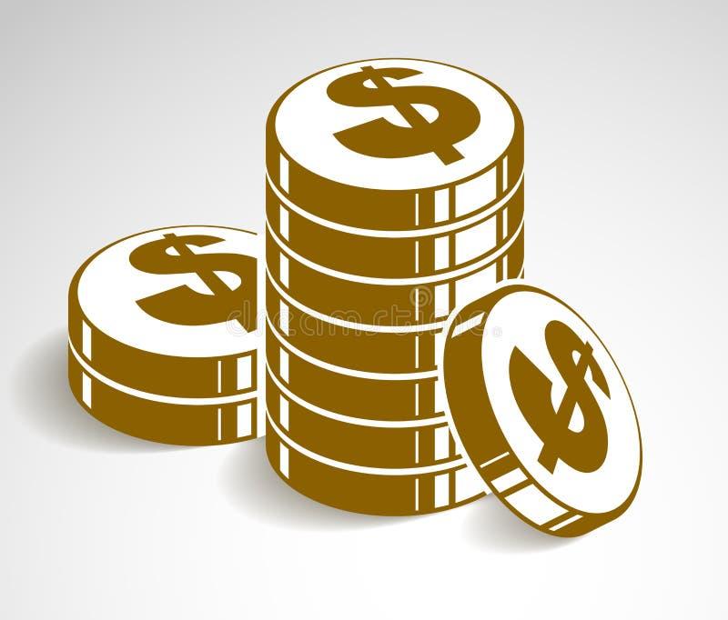 硬币堆现金金钱或赌博娱乐场芯片静物画、传染媒介象、例证或者商标、收支或者税概念 库存例证