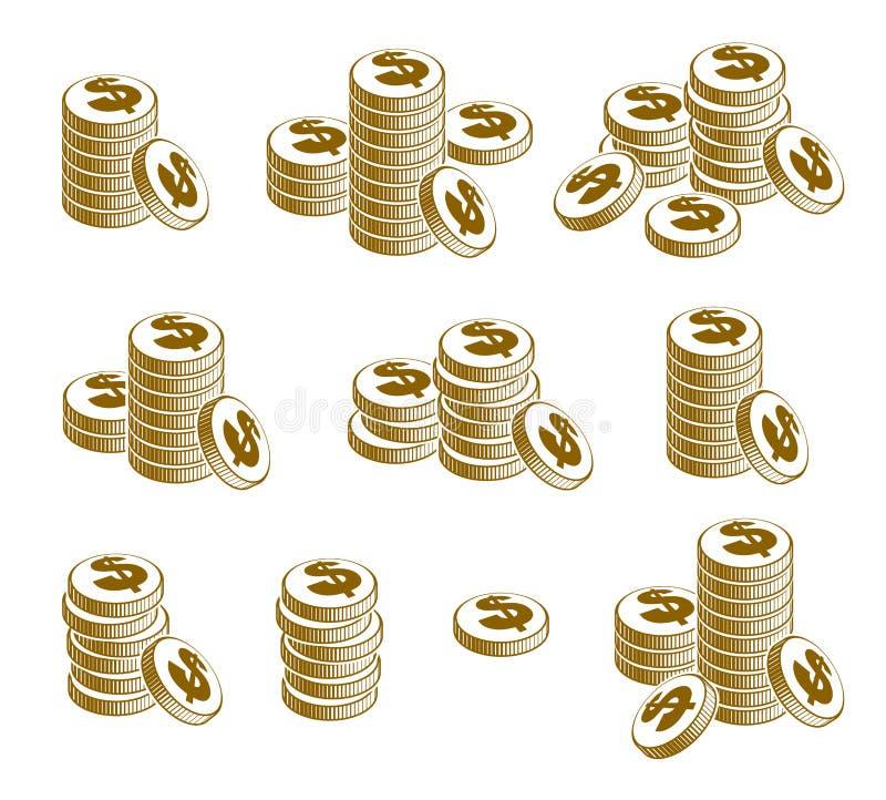 硬币堆现金金钱或赌博娱乐场芯片静物画、传染媒介象集合、例证或商标汇集、收支或者税概念,堆 向量例证