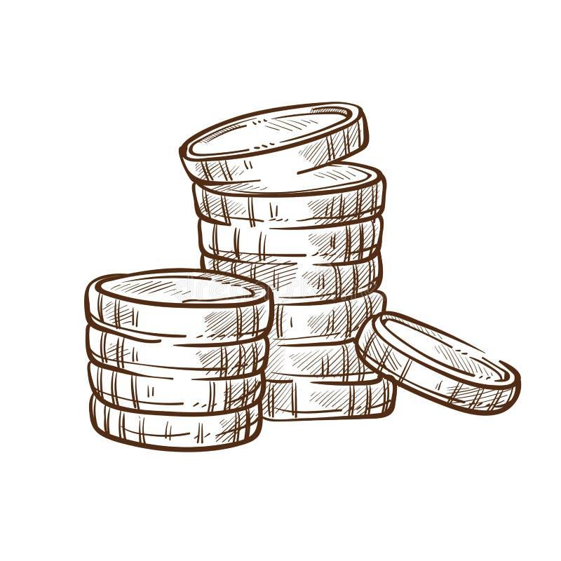 硬币堆积被隔绝的剪影金钱和财务银行业务 向量例证