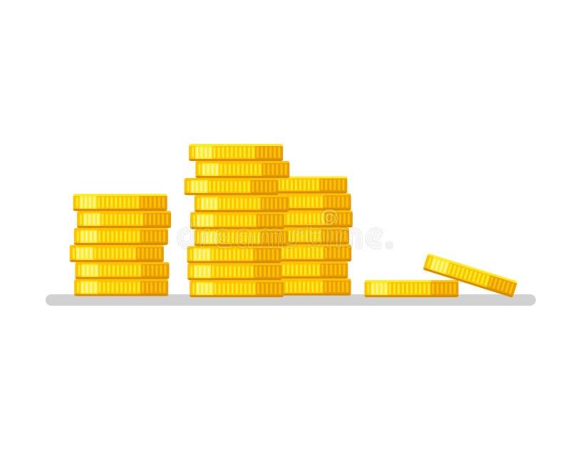 硬币堆 金金钱象平的设计例证传染媒介 到达天空的企业概念金黄回归键所有权 库存例证