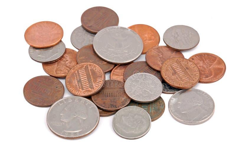 硬币堆 免版税库存照片