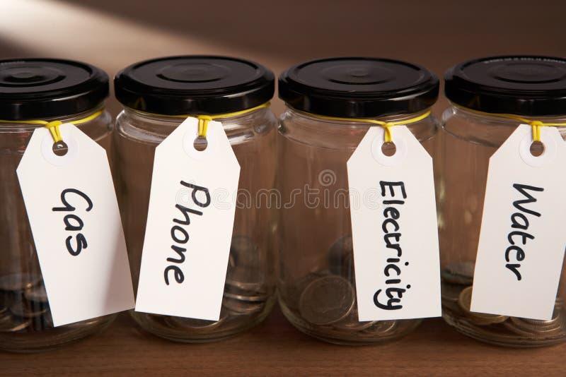硬币堵塞瓶子 免版税库存照片
