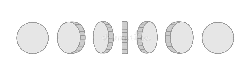 硬币套自转动画的传染媒介魍魉 被隔绝的银币 对流动,桌面和Web应用程序和 库存例证