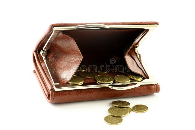 硬币擦亮钱包 库存图片