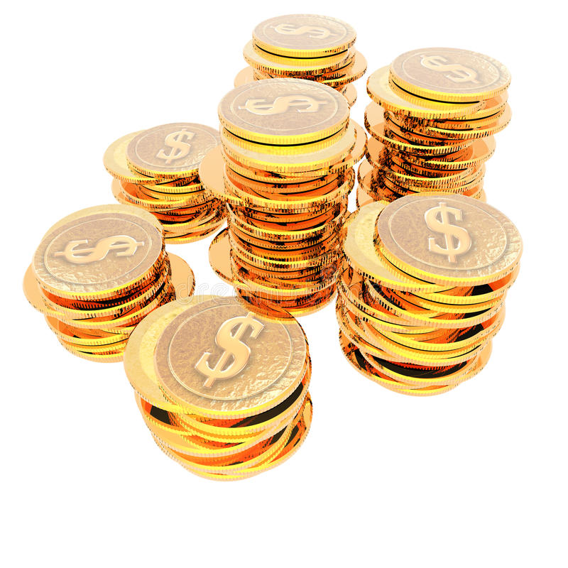 硬币查出白色 向量例证